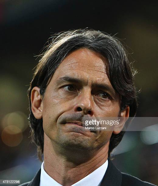 Milan coach Filippo Inzaghi looks on before the Serie A match between AC Milan and AS Roma at Stadio Giuseppe Meazza on May 9 2015 in Milan Italy