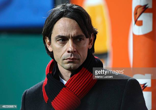 Milan coach Filippo Inzaghi looks on before the TIM Cup match between AC Milan and SS Lazio at Stadio Giuseppe Meazza on January 27 2015 in Milan...