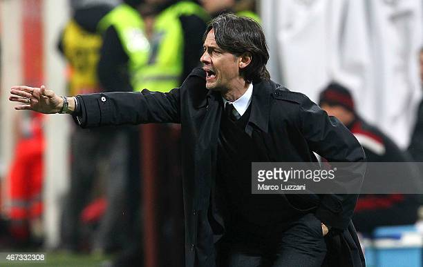 Milan coach Filippo Inzaghi shouts to his players during the Serie A match between AC Milan and Cagliari Calcio at Stadio Giuseppe Meazza on March 21...