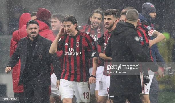 Milan coach Gennaro Gattuso celebrates a victory at the end of the Serie A match between AC Milan and Bologna FC at Stadio Giuseppe Meazza on...