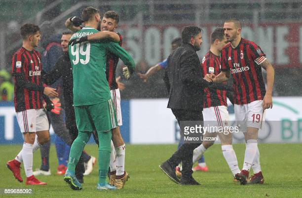Milan coach Gennaro Gattuso shakes hands with Leonardo Bonucci of AC Milan at the end of the Serie A match between AC Milan and Bologna FC at Stadio...