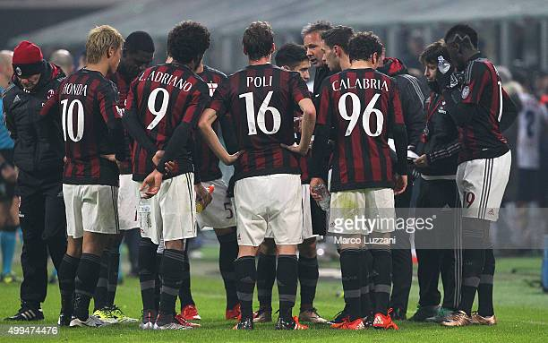Milan coach Sinisa Mihajlovic issues instructions to his players during the TIM Cup match between AC Milan and FC Crotone at Stadio Giuseppe Meazza...