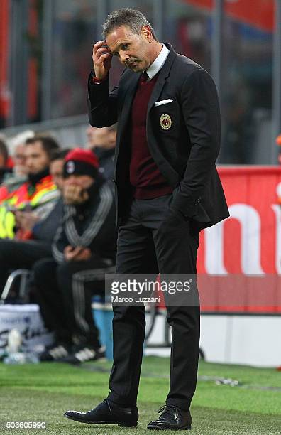 Milan coach Sinisa Mihajlovic looks dejection during the Serie A match between AC Milan and Bologna FC at Stadio Giuseppe Meazza on January 6 2016 in...