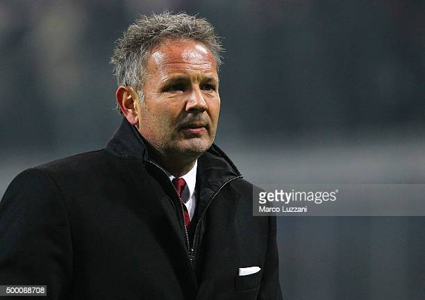 Milan coach Sinisa Mihajlovic looks on at the end of the TIM Cup match between AC Milan and FC Crotone at Stadio Giuseppe Meazza on December 1 2015...
