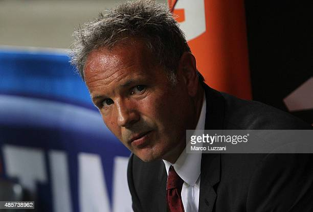 Milan coach Sinisa Mihajlovic looks on before the Serie A match between AC Milan and Empoli FC at Stadio Giuseppe Meazza on August 29 2015 in Milan...