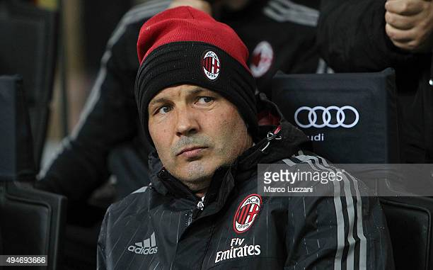 Milan coach Sinisa Mihajlovic looks on before the Serie A match between AC Milan and AC Chievo Verona at Stadio Giuseppe Meazza on October 28 2015 in...
