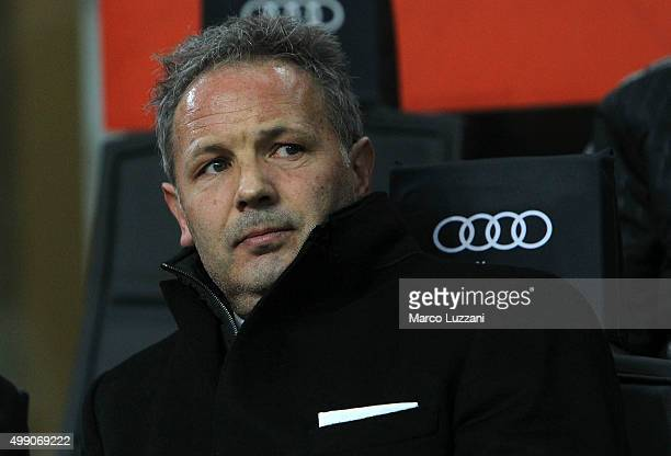 Milan coach Sinisa Mihajlovic looks on before the Serie A match between AC Milan and UC Sampdoria at Stadio Giuseppe Meazza on November 28 2015 in...