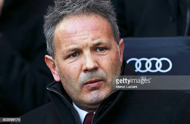 Milan coach Sinisa Mihajlovic looks on before the Serie A match between AC Milan and Bologna FC at Stadio Giuseppe Meazza on January 6 2016 in Milan...