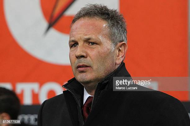 Milan coach Sinisa Mihajlovic looks on before the Serie A match between AC Milan and Torino FC at Stadio Giuseppe Meazza on February 27 2016 in Milan...