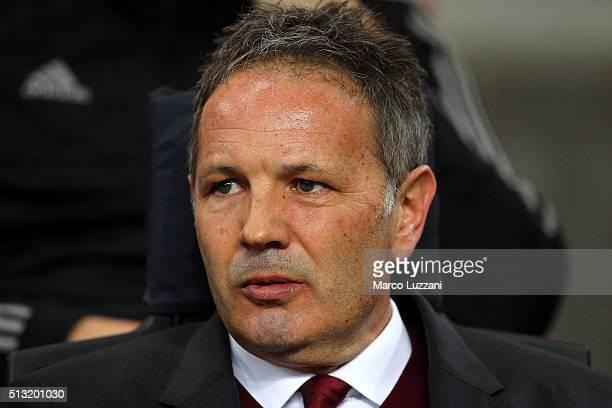 Milan coach Sinisa Mihajlovic looks on before the TIM Cup match between AC Milan and US Alessandria at Stadio Giuseppe Meazza on March 1 2016 in...