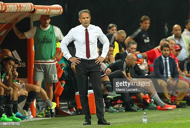 Milan coach Sinisa Mihajlovic watches the action during the Serie A match between AC Milan and Empoli FC at Stadio Giuseppe Meazza on August 29 2015...