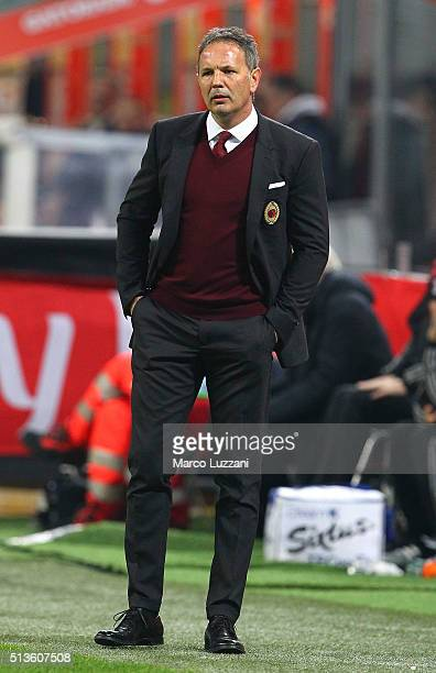 Milan coach Sinisa Mihajlovic watches the action during the TIM Cup match between AC Milan and US Alessandria at Stadio Giuseppe Meazza on March 1...