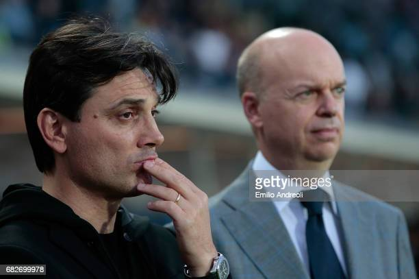 Milan coach Vincenzo Montella and AC Milan CEO Marco Fassone look on before the Serie A match between Atalanta BC and AC Milan at Stadio Atleti...