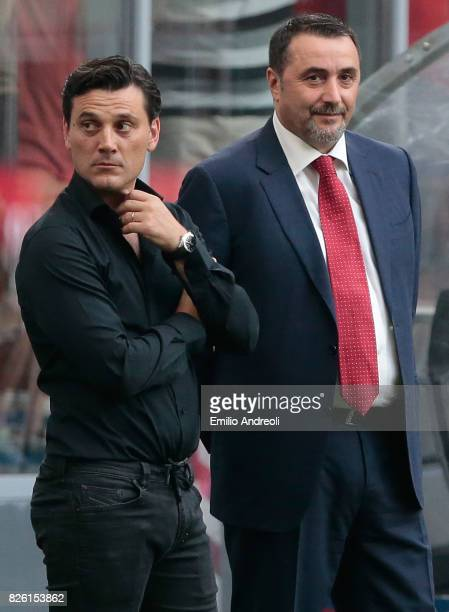 Milan coach Vincenzo Montella and Sportif Director of AC Milan Massimiliano Mirabelli look on prior to the UEFA Europa League Third Qualifying Round...
