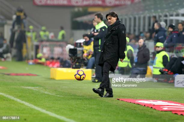 Milan coach Vincenzo Montella controls the ball during the Serie A match between AC Milan and ACF Fiorentina AC Milan wins 21 over ACF Fiorentina