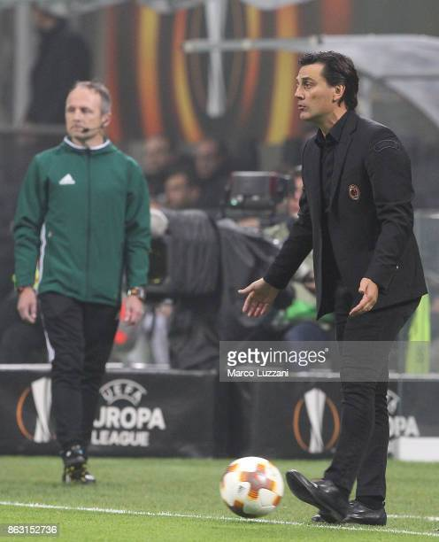 Milan coach Vincenzo Montella controls the ball during the UEFA Europa League group D match between AC Milan and AEK Athens at Stadio Giuseppe Meazza...