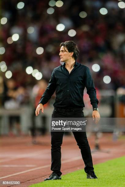 Milan Coach Vincenzo Montella during the 2017 International Champions Cup China match between FC Bayern and AC Milan at Universiade Sports Centre...