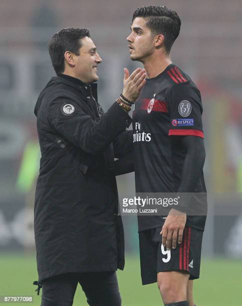 Milan coach Vincenzo Montella embraces Andre Silva at the end of the UEFA Europa League group D match between AC Milan and Austria Wien at Stadio...