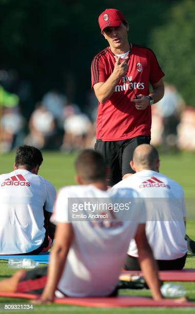 Milan coach Vincenzo Montella gestures during the AC Milan training session at the club's training ground Milanello on July 5 2017 in Cairate Italy