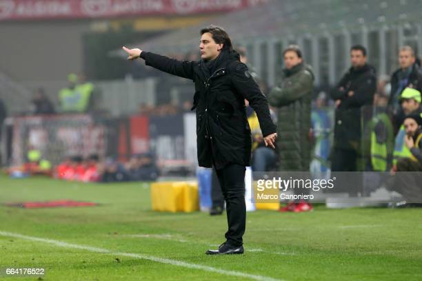 Milan coach Vincenzo Montella gestures during the Serie A match between AC Milan and ACF Fiorentina AC Milan wins 21 over ACF Fiorentina