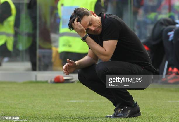 Milan coach Vincenzo Montella gestures during the Serie A match between AC Milan and Empoli FC at Stadio Giuseppe Meazza on April 23 2017 in Milan...