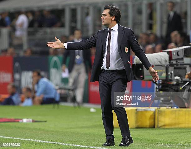 Milan coach Vincenzo Montella issues instructions to his players during the Serie A match between AC Milan and SS Lazio at Stadio Giuseppe Meazza on...