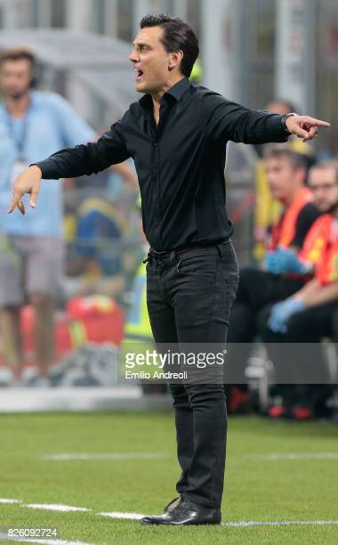 Milan coach Vincenzo Montella issues instructions to his players during the UEFA Europa League Third Qualifying Round Second Leg match between AC...