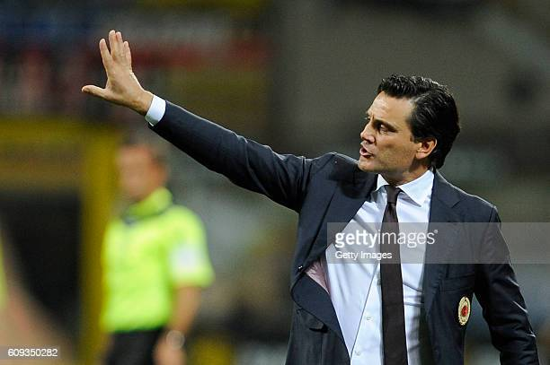 Milan coach Vincenzo Montella looks on before the Serie A match between AC Milan and SS Lazio at Stadio Giuseppe Meazza on September 20 2016 in Milan...
