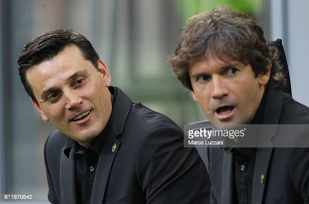 Milan coach Vincenzo Montella looks on before the Serie A match between AC Milan and US Sassuolo at Stadio Giuseppe Meazza on October 2 2016 in Milan...