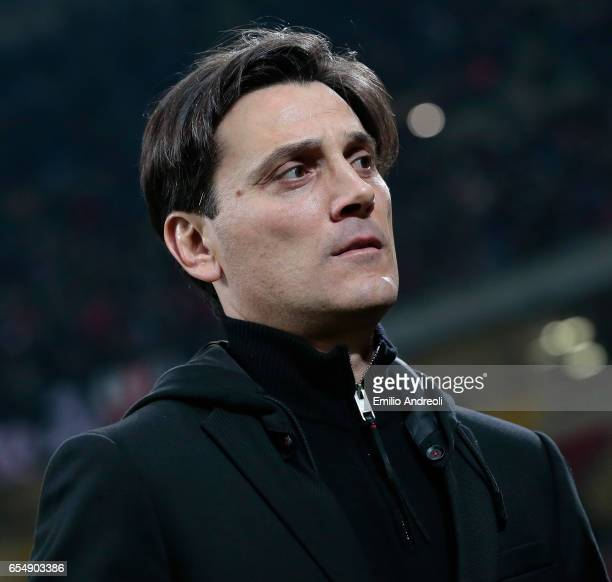 Milan coach Vincenzo Montella looks on before the Serie A match between AC Milan and Genoa CFC at Stadio Giuseppe Meazza on March 18 2017 in Milan...