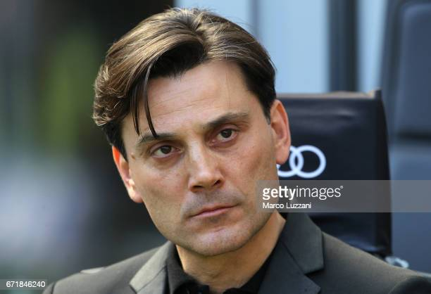 Milan coach Vincenzo Montella looks on before the Serie A match between AC Milan and Empoli FC at Stadio Giuseppe Meazza on April 23 2017 in Milan...