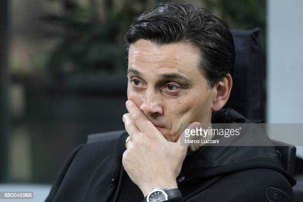Milan coach Vincenzo Montella looks on before the Serie A match between AC Milan and AS Roma at Stadio Giuseppe Meazza on May 7 2017 in Milan Italy