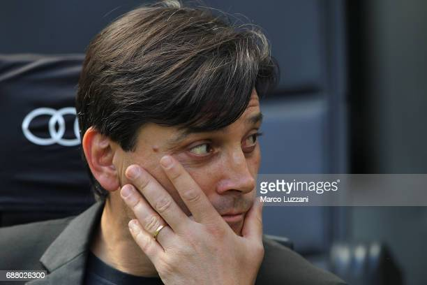 Milan coach Vincenzo Montella looks on before the Serie A match between AC Milan and Bologna FC at Stadio Giuseppe Meazza on May 21 2017 in Milan...