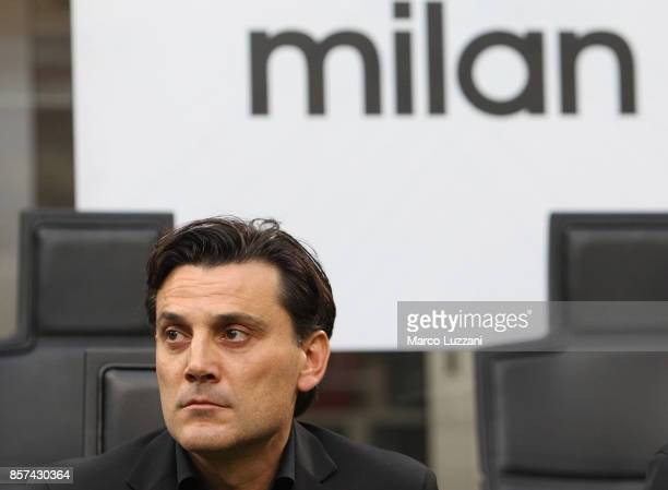 Milan coach Vincenzo Montella looks on before the Serie A match between AC Milan and AS Roma at Stadio Giuseppe Meazza on October 1 2017 in Milan...