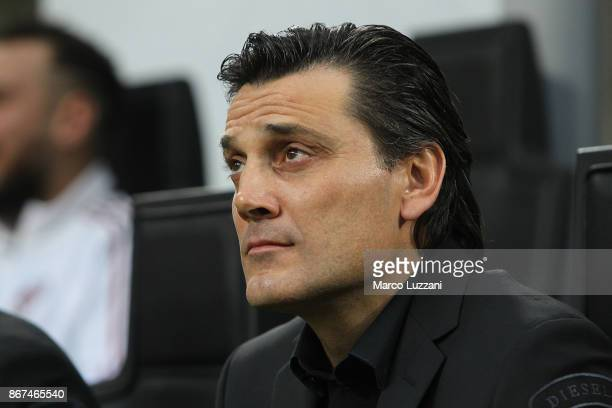 Milan coach Vincenzo Montella looks on before the Serie A match between AC Milan and Juventus at Stadio Giuseppe Meazza on October 28 2017 in Milan...