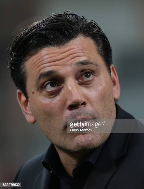 Milan coach Vincenzo Montella looks on before the UEFA Europa League group D match between AC Milan and HNK Rijeka at Stadio Giuseppe Meazza on...