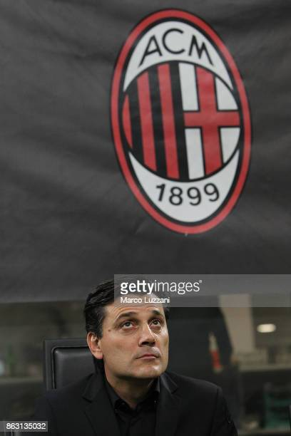 Milan coach Vincenzo Montella looks on before the UEFA Europa League group D match between AC Milan and AEK Athens at Stadio Giuseppe Meazza on...