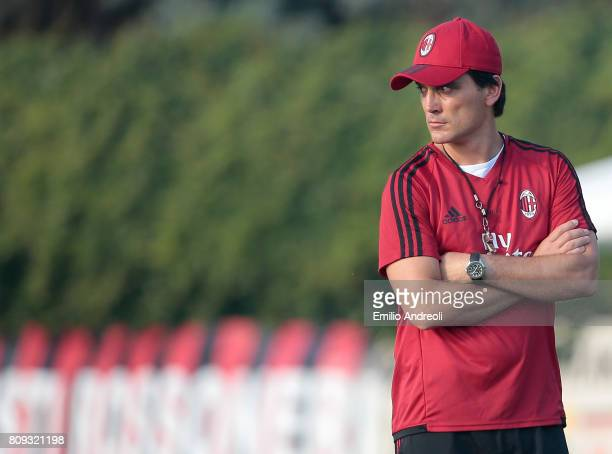 Milan coach Vincenzo Montella looks on during the AC Milan training session at the club's training ground Milanello on July 5 2017 in Cairate Italy