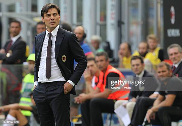 Milan coach Vincenzo Montella looks on during the Serie A match between AC Milan and Udinese Calcio at Stadio Giuseppe Meazza on September 11 2016 in...