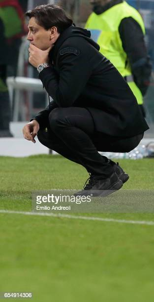 Milan coach Vincenzo Montella reacts during the Serie A match between AC Milan and Genoa CFC at Stadio Giuseppe Meazza on March 18 2017 in Milan Italy