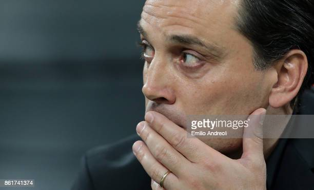 Milan coach Vincenzo Montella reacts during the Serie A match between FC Internazionale and AC Milan at Stadio Giuseppe Meazza on October 15 2017 in...