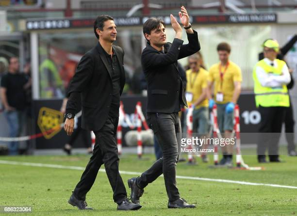 Milan coach Vincenzo Montella salutes the fans at the end of the Serie A match between AC Milan and Bologna FC at Stadio Giuseppe Meazza on May 21...
