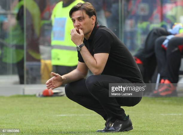 Milan coach Vincenzo Montella watches the action during the Serie A match between AC Milan and Empoli FC at Stadio Giuseppe Meazza on April 23 2017...