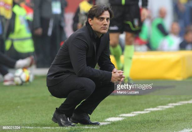 Milan coach Vincenzo Montella watches the action during the Serie A match between AC Milan and Genoa CFC at Stadio Giuseppe Meazza on October 22 2017...