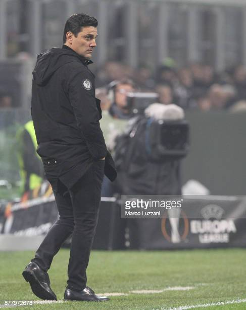 Milan coach Vincenzo Montella watches the action during the UEFA Europa League group D match between AC Milan and Austria Wien at Stadio Giuseppe...