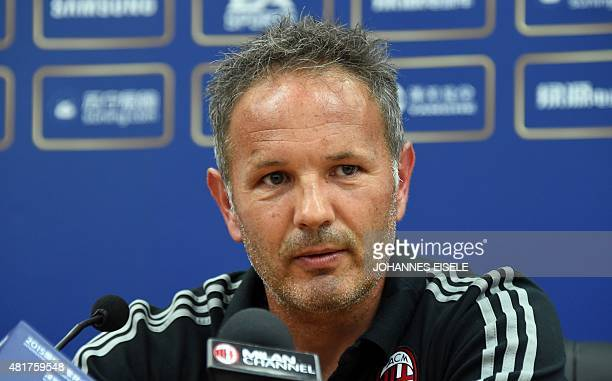 AC Milan Croatian head coach Sinisa Mihajlovic attends a press conference on the eve of the AC Milan against Inter Milan football match during the...