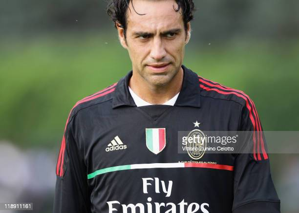 Milan defender Alessandro Nesta in action during a training session at Milanello on July 12 2011 in Solbiate Arno Italy