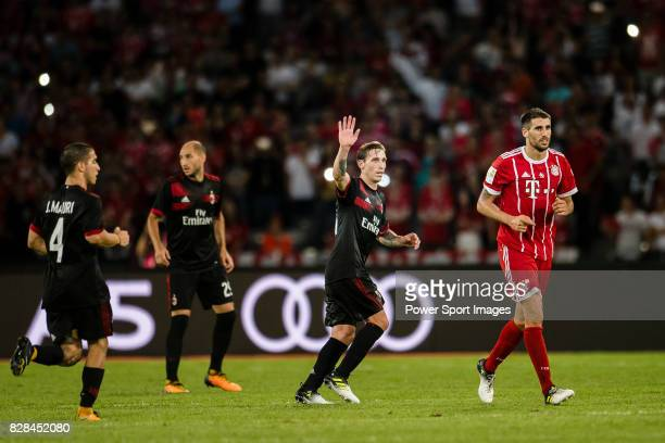 Milan Defender Lucas Biglia gestures during the 2017 International Champions Cup China match between FC Bayern and AC Milan at Universiade Sports...