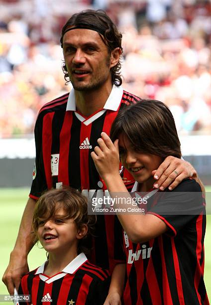 Milan defender Paolo Maldini and his sons attend AC MIlan vs AS Roma the last match of Paolo Maldini on May 24 2009 in Milan Italy