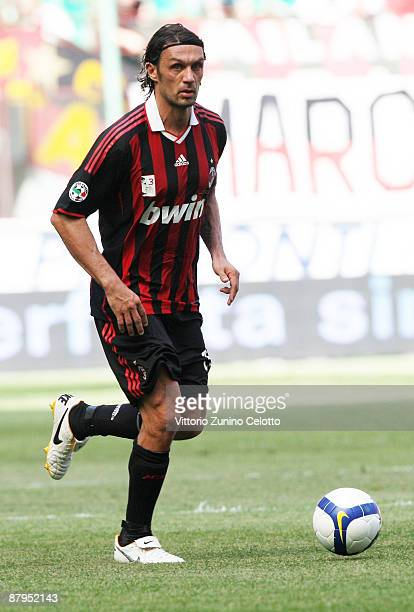Milan defender Paolo Maldini in action during AC Milan v AS Roma on May 24 2009 in Milan Italy